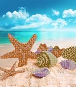 Рисунок на ткани для вышивки бисером Тропический пляж