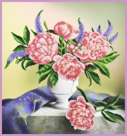 Набор для вышивки бисером Пионы на столе, , 530.00грн., Р-355, Картины бисером, Цветы
