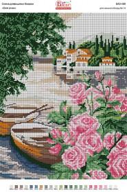 Схема для вышивки бисером на габардине Біля річки