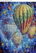 Схема для вышивки бисером на габардине Воздушные шары