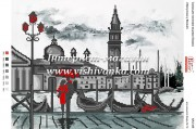 Схема для вышивки бисером на габардине Прогулянка у Венеції
