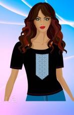 Женская футболка для вышивки бисером Голубая вышиванка Юма ЮМА-ЧФ6