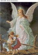 Схема для вышивки бисером на габардине Ангел Хранитель