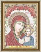 Схема вышивки бисером на габардине Пресвятая Богородица Казанская