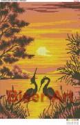 Схема вышивки бисером на габардине Захід сонця