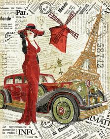 Схема  вышивки бисером на атласе  Париж