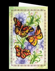 Набор для вышивки бисером Открытка-конверт Три мотылька