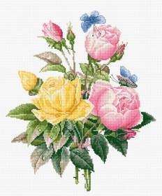 Набор для вышивки крестом Желтые розы и бенгальские розы
