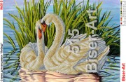 Схем для вышивки бисером на габардине Лебеди