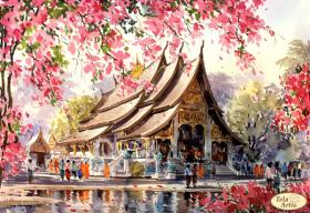 Схема для вышивки бисером на атласе У храма Будды, , 95.00грн., ТА-369, Tela Artis (Тэла Артис), Пейзажи и натюрморты