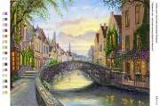 Рисунок на габардине для вышивки бисером Чарівний світ: квіткова вулиця, Брюгге Бельгія