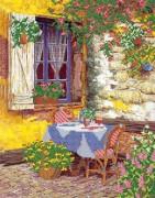РИсунок на ткани для вышивки бисером Завтрак  во дворе