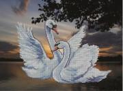Рисунок на ткани для вышивки бисером Лебеди