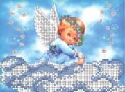 Схема для вышивки бисером на габардине  Ангелочек на облачке