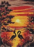 Рисунок на ткани для вышивки бисером  Цапли на закате