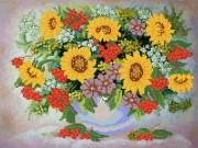 Рисунок на ткани для вышивки бисером Натюрморт с калиной