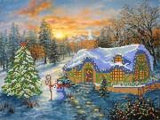 Рисунок на ткани для вышивки бисером Рождественский домик
