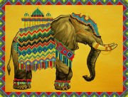 Рисунок на ткани для вышивки бисером Слон Махараджи