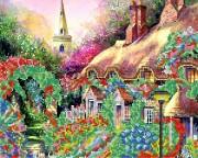 Рисунок на ткани для вышивки бисером Цветущий домик