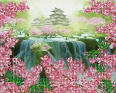 Рисунок на ткани для вышивки бисером Небесная пагода А-строчка АК3-011