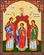 Рисунок на ткани для вышивки бисером иконы Вера, Надежда Любовь и матерь их София