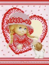 Рисунок на ткани для вышивки бисером Детка и щенок А-строчка АК5-009