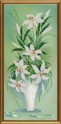 Рисунок на ткани для вышивки бисером Амфора. Белый букет
