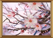 Рисунок на ткани для вышивки бисером Яблоневый цвет