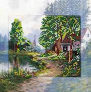 Рисунок на холсте для вышивки бисером Домик в деревне