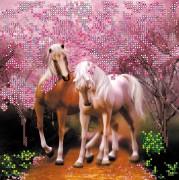 Рисунок на холсте для вышивки бисером Влюбленные лошадки