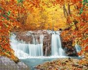 Рисунок на атласе для вышивки бисером Осенний водопад