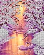 Рисунок на атласе для вышивки бисером Вечная любовь