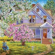 Рисунок на холсте для вышивки бисером Садовые качели