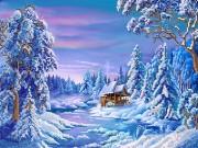 Рисунок на атласе для вышивки бисером Зимняя деревушка