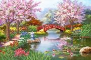 Рисунок на атласе для вышивки бисером Японский сад