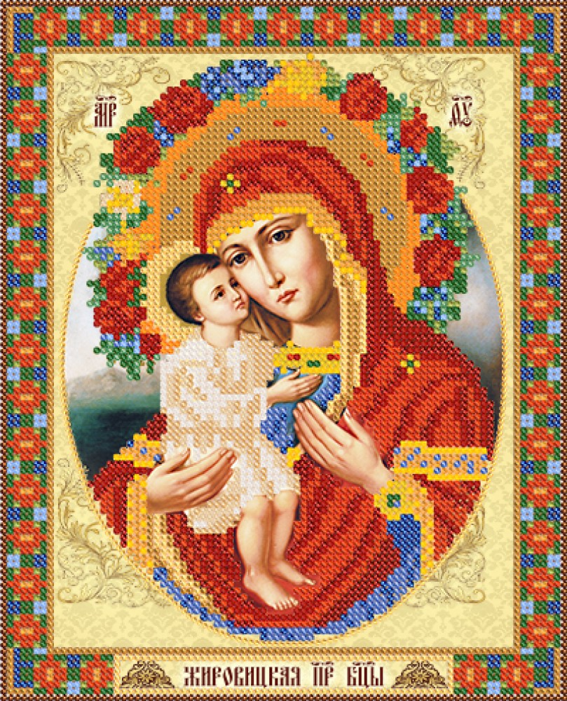 Вышивка жировицкая икона божией матери