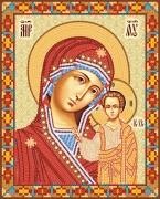 Рисунок на атласе для вышивки бисером Венчальная Пара. Богородица Казанская