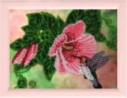 Рисунок на атласе для вышивки бисером Колибри