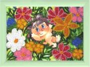 Рисунок на атласе для вышивки бисером Ежик в цветах
