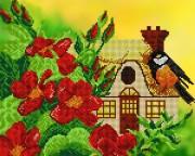 Рисунок на ткани для вышивки бисером Синичкин домик