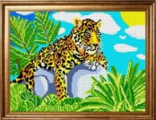Рисунок на ткани для вышивки бисером Леопард Каролинка КБЖ-3002