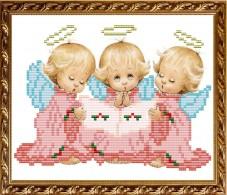 Рисунок на габардине для вышивки бисером Три ангелочка Art Solo VKA5014