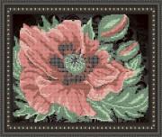 Рисунок на габардине для вышивки бисером Мак на