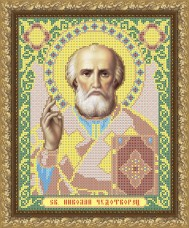 Рисунок на габардине для вышивки бисером Николай Чудотворец
