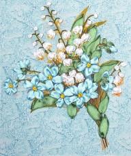Набор для вышивки лентами Весенний букет Марiчка (Маричка) НЛ-4008