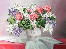 Набор для вышивки лентами Розы и сирень Марiчка (Маричка) НЛ-4005