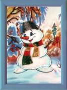 Рисунок на атласе для вышивки бисером Снеговичок