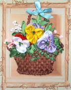 Набор для вышивки лентами Виолы в корзине