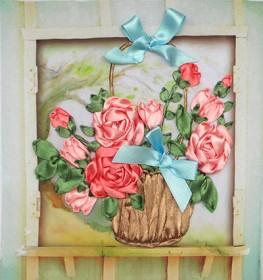 Набор для вышивки лентами Розы в корзине, , 101.00грн., НЛ-4002, Марiчка (Маричка), Вышивка лентами