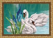 Рисунок на габардине для вышивки бисером Лебединая пара